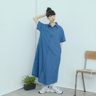 Queen Shop【01085542】單口袋設計牛仔襯衫洋裝*現+預*