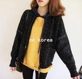 現貨 韓國設計 實拍 保暖雪花虛線棒球毛衣外套 CC KOREA ~ Q12523