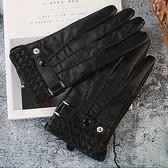 真皮手套-羊皮黑色三條筋拼接編織男手套73wf17[巴黎精品]