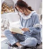 加厚珊瑚絨韓版可愛法蘭絨家居服秋冬天可外穿公主套裝