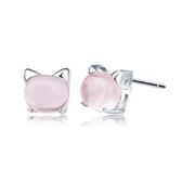 耳環 925純銀 水晶-可愛小貓生日情人節禮物女飾品73dz9【時尚巴黎】