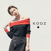 東京著衣【KODZ】歐美撞色一字領針織上衣-S.M(6027299)