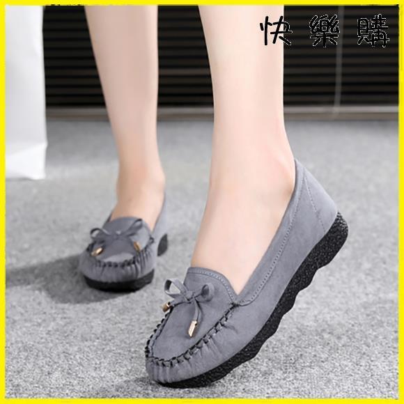 【快樂購】布鞋 布鞋豆豆鞋平底蝴蝶結單鞋百搭棉鞋