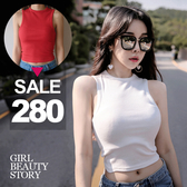 SISI【V8017】輕盈美腰百搭圓領短款露肚臍半截緊身小可愛修身無袖T恤上衣