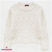 【SHOWCASE】休閒圓領珍珠麻花針織短上衣(米色)