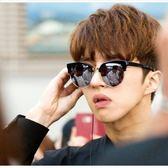 現貨-韓國帥氣歐美復古圓形框半框墨鏡太陽眼鏡金屬膠框反光半框鏡面炫彩黑色墨鏡男女流行墨