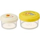 小禮堂 迪士尼 小熊維尼 日製 圓形微波保鮮盒組 密封保鮮盒 便當盒 (2入 黃) 4973307-51136
