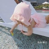 嬰兒童游泳女童泳裝連身小天使翅膀泳裝公主女寶寶裙式紗紗裙(七夕禮物)