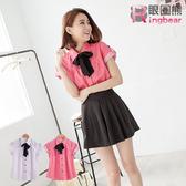 襯衫--甜美氛圍滿版點點可反摺短袖襯衫附領巾(白.粉M-2L)-H105眼圈熊中大尺碼◎