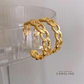 《Caroline》韓國熱賣金色C型編織鏈條簡約耳環 甜美浪漫流行耳環72691