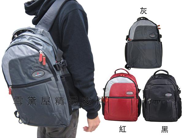 ~雪黛屋~Caution 後背包大容量台灣製可A4二層主袋胸前服貼插釦可水瓶高單數防水尼龍布ACB5972