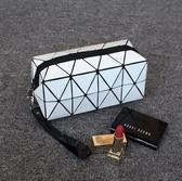 便攜方形化妝包 新款幾何手拿包大容量菱格包收納化妝袋【快速出貨】