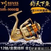 捲線器 1000-7000型12軸全金屬頭搖臂漁輪垂釣漁線輪紡車輪海竿輪