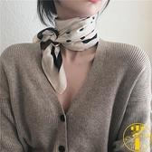 方巾女百搭白領波點圍巾絲巾春秋文藝領巾