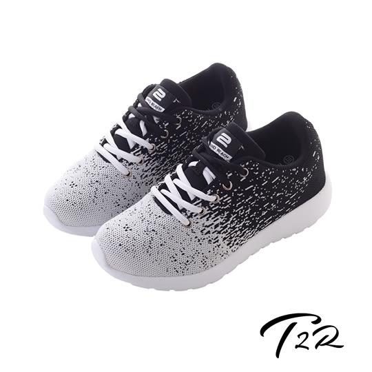 【T2R】韓國T2R飛線編織內增高6公分休閒鞋-白黑(5600-0238)