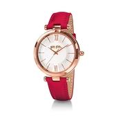 【Folli Follie】Lady Bubble極緻晶耀真皮時尚腕錶-胭脂紅/WF16R010SPS_DR/台灣總代理公司貨享兩年保固