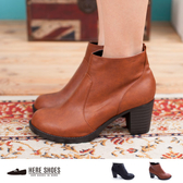 [Here Shoes] MIT台灣製 英倫風簡約側拉鍊車線設計 高質感粗跟高跟短靴 2色 ─KTD2181