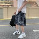 五分褲 2021夏季5分潮牌沙灘男寬松休閑五分褲迷彩扎染字母印花運動短褲