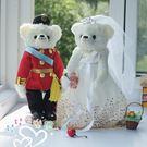 娃娃屋樂園~紅軍裝.金點款-歐風婚紗對熊 每對1580元/婚禮小物/熊熊玩偶/可站立有支架/會場佈置