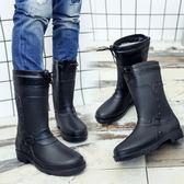 防水雨鞋 棉水鞋雨鞋水靴雨靴中筒男士膠鞋時尚成人套鞋防水鞋韓版【快速出貨八折搶購】