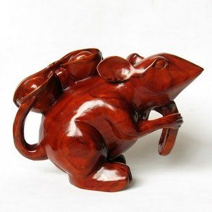 木雕工藝品 雙鼠送財擺件