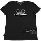 茱麗葉精品【全新現貨】KARL LAGERFELD 卡爾 經典人物鏡射印花造型棉質短T恤.黑
