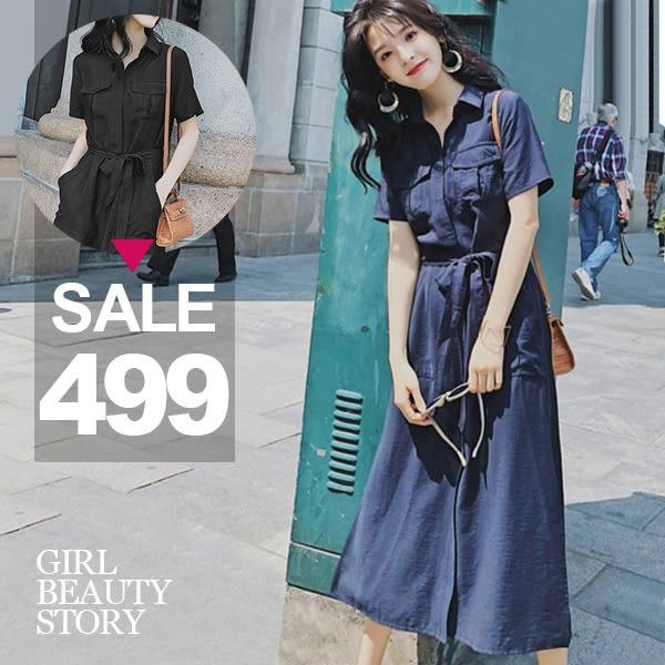 SISI【D8143】現貨飄逸率性長版雙口袋縮腰顯瘦長洋裝連身裙開襟襯衫外套罩衫外搭