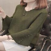 現貨出貨特價優雅復古珠珠喇叭袖毛衣-M墨綠色