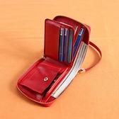 短夾 ins潮對折手腕帶拉鍊錢包卡包一體女短款多功能錢夾女軟皮零錢包 美物