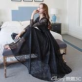 【榮耀3C】蕾絲長裙 2021秋裝新款名媛氣質V領長袖修身顯瘦百搭蕾絲連身裙禮服長裙女  新品