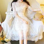 溫柔超仙氣洋裝連衣裙女夏森系收腰顯瘦學生少女心公主長裙子 巴黎時尚
