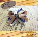 【YT店髮飾】藍調蕾絲緞帶蝴蝶結髮夾/髮飾/頭飾/鯊魚夾(G009)