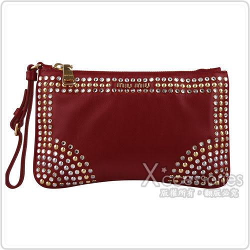MIU MIU 素面鉚釘鑽飾羊皮手拿包(紅)