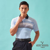 【Emilio Valentino】都會悠活層次橫條POLO衫 - 水藍