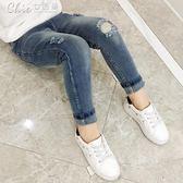 女童純棉牛仔褲寶寶鉛筆褲九分褲修身百搭褲子長褲彈力窄管窄管褲「七色堇」