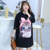 中大尺碼~甜美胸前貓咪圖案長袖洋裝(XL~4XL)