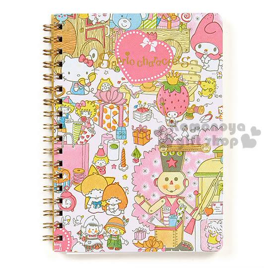 〔小禮堂〕Sanrio大集合 日製線圈筆記本《B6.粉.禮物.玩具.燙金》 4901610-52142