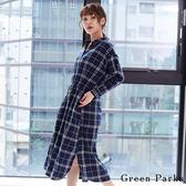 ❖ Autumn ❖ 法蘭絨格紋連身洋裝 - Green Parks