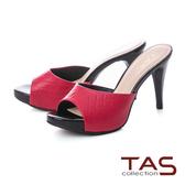 TAS 質感菱格紋羊皮高跟涼拖鞋-熱情紅