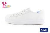 Keds厚底帆布鞋 女鞋 皮面 防潑水 小白鞋 休閒鞋H9863#白色◆OSOME奧森童鞋