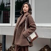 毛外套 羊羔毛外套冬女百搭中長款韓版網紅同款皮毛一體羊羔絨女 芊墨左岸