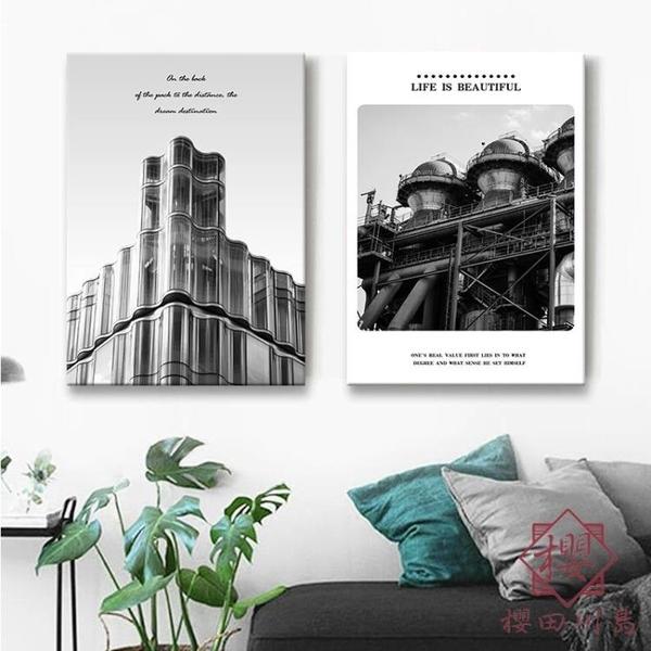 1副 裝飾畫城市建築上海黑白藝術地圖風景創意沙發背景墻掛畫【櫻田川島】