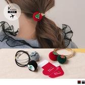 《ZB0781》韓國製。兩件組2入一組聖誕造型毛球髮圈 OrangeBear