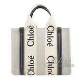 茱麗葉精品【全新現貨】CHLOE Woody 經典LOGO織帶帆布托特包.米/深藍 小