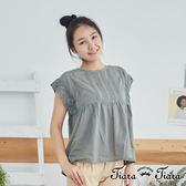 【Tiara Tiara】百貨同步 細摺X蕾絲拼接短袖上衣(灰綠)