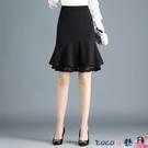 熱賣半身魚尾裙 蕾絲花邊魚尾裙短裙半身裙女春秋冬新款包臀裙高腰荷葉邊一步裙子 coco