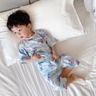 2021春夏童裝兒童卡通呼吸棉7分家居服套裝寶寶全棉空調服睡衣