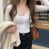 大碼螺紋T恤女簡約 圓領 單排扣 顯瘦螺紋長袖打底衫女胖mmT恤百搭上衣