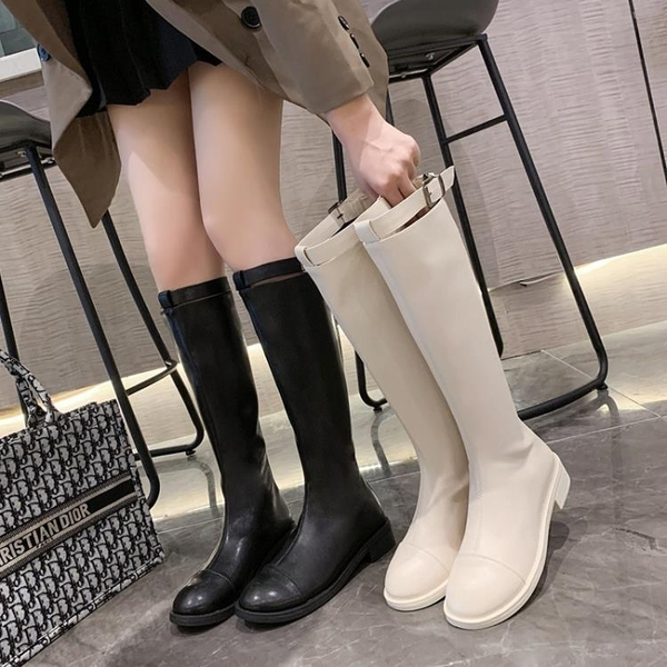 顯瘦小個子長靴女不過膝2021年新款騎士靴網紅瘦瘦靴子中筒靴高靴3C數位百貨