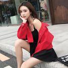 紅色牛仔外套女秋季韓版學生短款時尚夾克寬...